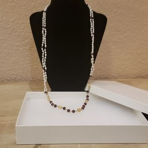 14K pearl and amethyst necklace.